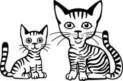Gatto e gattino della madre Fotografia Stock Libera da Diritti
