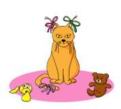 Gatto e giocattoli Immagine Stock