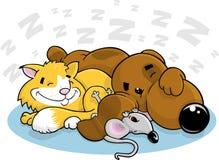 Gatto e mouse del cane del fumetto Immagini Stock