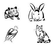 Gatto e Mouse.rabbit, tatuaggio Fotografia Stock