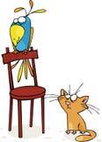 Gatto e pappagallo Fotografia Stock Libera da Diritti