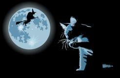 Gatto e strega contro la luna piena Immagini Stock