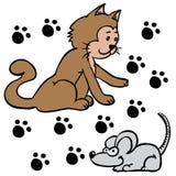 Gatto e topo Immagine Stock
