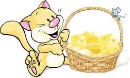 Gatto e topo con il canestro pieno di formaggio Fotografia Stock Libera da Diritti