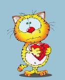 Gatto e un cuore rotto Immagine Stock