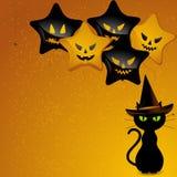 Gatto ed aerostati della strega di Halloween Fotografia Stock Libera da Diritti