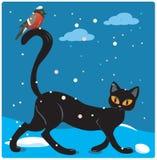 Gatto ed uccello Fotografia Stock