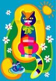 Gatto eterogeneo e un mouse blu Fotografie Stock