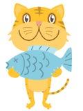 Gatto felice con i pesci Fotografia Stock Libera da Diritti