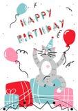 Gatto felice del fumetto del biglietto di auguri per il compleanno di vettore Fotografie Stock Libere da Diritti