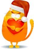 Gatto grasso con cuore e cappello di Santa isolato su bianco Fotografie Stock Libere da Diritti