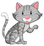 Gatto grigio che si siede da solo royalty illustrazione gratis