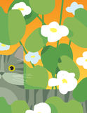 Gatto grigio con i fiori Immagine Stock