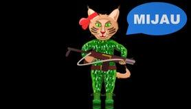 Gatto, illustrazione animale animata dei guerrieri Immagini Stock Libere da Diritti