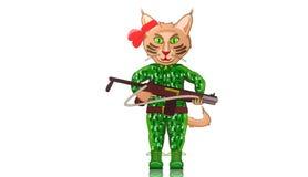 Gatto, illustrazione animale animata dei guerrieri Fotografie Stock