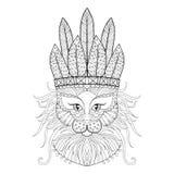 Gatto lanuginoso con il cofano di guerra nello stile dello zentangle Schizzo a mano libera royalty illustrazione gratis