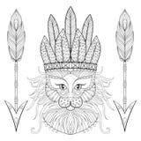 Gatto lanuginoso con il rbonnet di wa, frecce nello stile dello zentangle illustrazione vettoriale