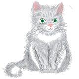 Gatto lanuginoso grigio sveglio con gli occhi verdi isolati su backgroun bianco illustrazione vettoriale