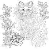 Gatto lanuginoso in rose, stile dello zentangle Schizzo a mano libera illustrazione vettoriale