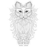 Gatto lanuginoso, stile dello zentangle Schizzo a mano libera per i antistres adulti illustrazione di stock