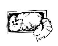 Gatto lanuginoso in una scatola royalty illustrazione gratis