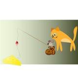 Gatto, mouse e formaggio Fotografie Stock Libere da Diritti