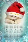 Gatto nel calendario del cappello 2016 del Babbo Natale Fotografie Stock Libere da Diritti