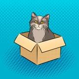 Gatto nell'illustrazione di vettore di Pop art della scatola Immagini Stock