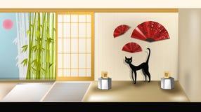 Gatto nell'interiore giapponese Fotografie Stock
