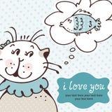 Gatto nella scheda di amore illustrazione di stock