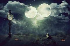 Gatto nero che si siede sotto due lune Immagini Stock