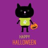 Gatto nero con i Bu della zucca di scherzetto o dolcetto di Halloween Fotografie Stock Libere da Diritti