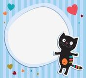 Gatto nero con il blocco per grafici Fotografie Stock Libere da Diritti