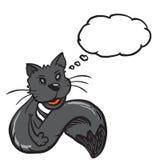 Gatto nero con il fumetto Fotografia Stock