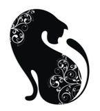 Gatto nero con la decorazione bianca Fotografia Stock
