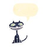 gatto nero del retro fumetto Fotografia Stock Libera da Diritti