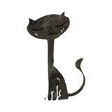gatto nero del retro fumetto Fotografie Stock