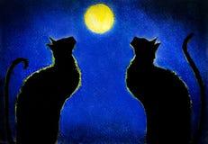 Gatto nero due Fotografie Stock