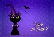 Gatto nero per Halloween felice Immagine Stock Libera da Diritti