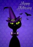 Gatto nero per Halloween felice Immagini Stock Libere da Diritti