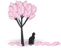 Gatto nero sotto l'albero Immagine Stock