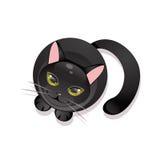 Gatto nero su una priorità bassa bianca Illustrazione di Stock