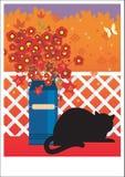 Gatto nero sul balcone Fotografia Stock Libera da Diritti
