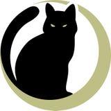 Gatto nero sulla luna Fotografia Stock