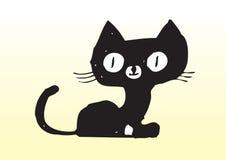 Gatto nero sveglio disegnato a mano Fotografia Stock Libera da Diritti