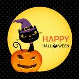 Gatto nero sveglio sulla carta della zucca di Halloween Fotografia Stock
