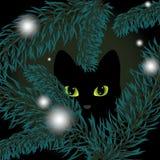 Gatto nero in un albero di Natale Illustrazione di Stock