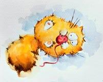 Gatto pigro divertente Fotografia Stock