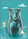 Gatto, pugile e ballerina illustrazione di stock