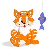 Gatto rosso con il pesce Fotografie Stock Libere da Diritti